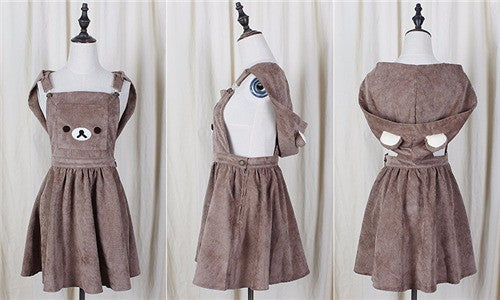 Rilakkuma Bear San-X Romper Dress Kawaii Brown Teddy Bear Cord Material Little Space DDLG ABDL
