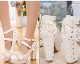 Dainty Corset Wedding Heels Frilly Bow Lolita Sandals High Heels EGL Community by Kawaii Babe