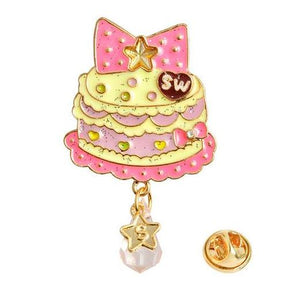 Birthday Cake Jewelled Glitter ENamel Pin Lapel Brooch Kawaii Magical Girly