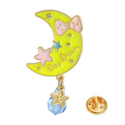 Day Dream Glitter Moon Starry Sky Enamel Pin Brooch Lapel Pin Kawaii Girly Cute
