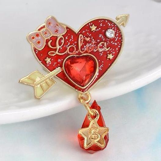 Kawaii Lolita Red Heart Charm Enamel Pin Lapel Brooch  Kawaii harajuku japan fashion by kawaii babe