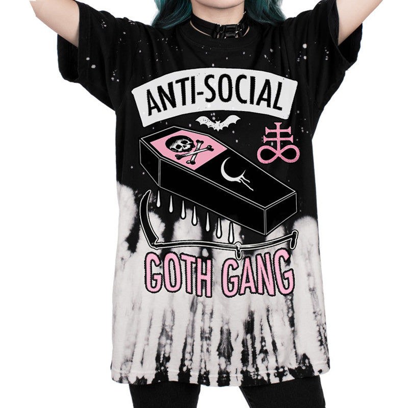 anti social goth gang gothic fashion t-shirt plus sized tee top coffin wicca new age bats tie dye oversized