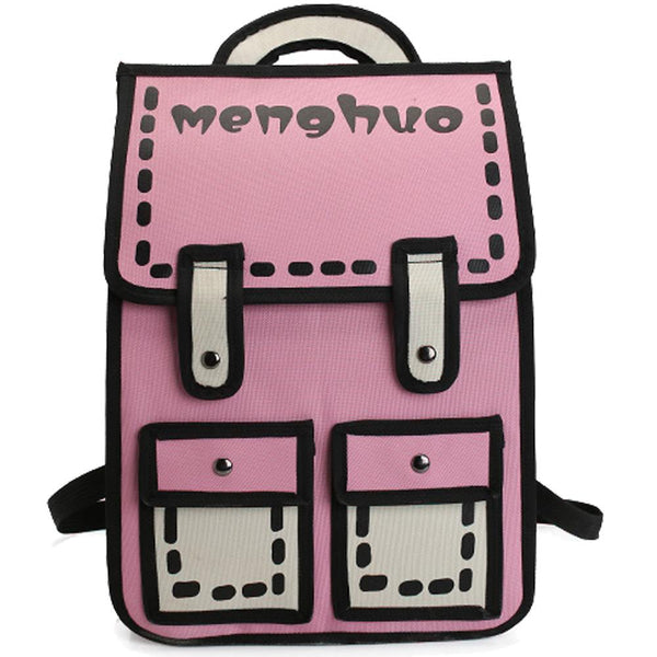 2D School Backpack Book Bag Rucksack Knapsack Cartoon Style Backpack Handbag Anime Harajuku Japan Mind Bending Mind Trick Japanese  by Kawaii Babe