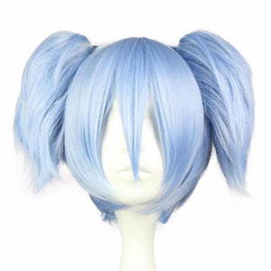 Blue Pigtail Cosplay Wig Anime Shiota Nagisa Kanekalon Fibre Realistic Quality Synthetic Hair Cosplay Cosplaying Anime Kawaii Babe