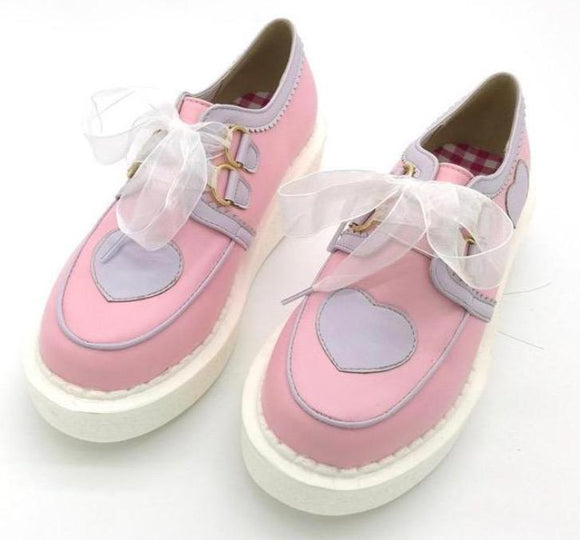Pastel Fairy Kei Loafer Lolita Shoes Creepers Pink And Purple Lavender by Kawaii Babe