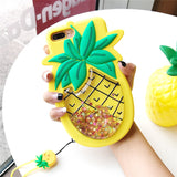 3d Pineapple rubbin silicone glitter quicksand liquid shimmer iphone case phone cases by kawaii babe