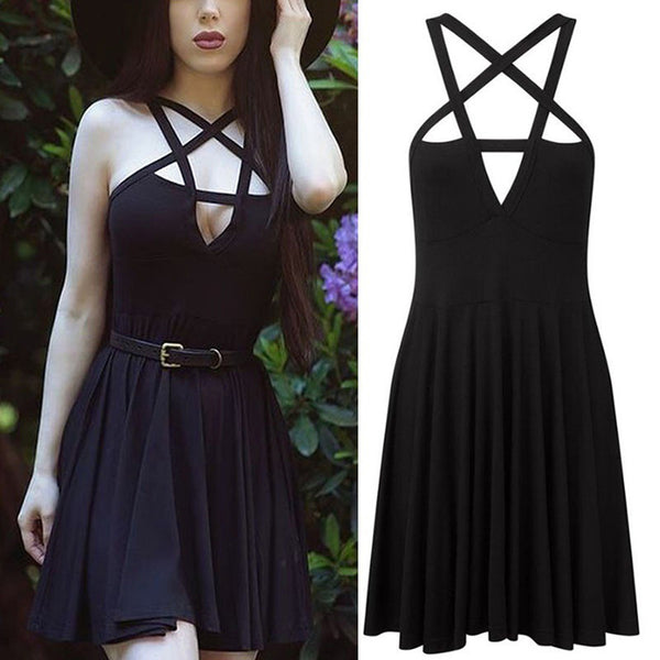 Pentagram Gothic Punk Dress Traditional Black Goth Aesthetic Wiccan Spiritual New Age Kawaii Babe