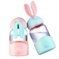 Glass bunny water bottle bpa free safe eco friendly organic vegan large pastel fairy kei kawaii babe