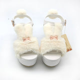 Soft Fuzzy Bunny Sandals Kawaii Sweet Lolita Shoes Wedge Heel Furry Bunnies Rabbit Peep Toe Shoes by Kawaii Babe