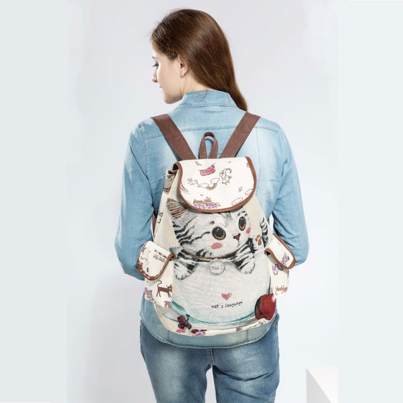 japanese kitten oriental kitty cat book bag rucksack backpack canvas japan harajuku chinese china art artwork kawaii babe fashion