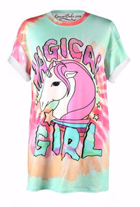Magical Girl Tie Dye Unicorn Pastel Aesthetic T-Shirt Tee Top Unisex Harajuku Japan Fashion by Kawaii Babe