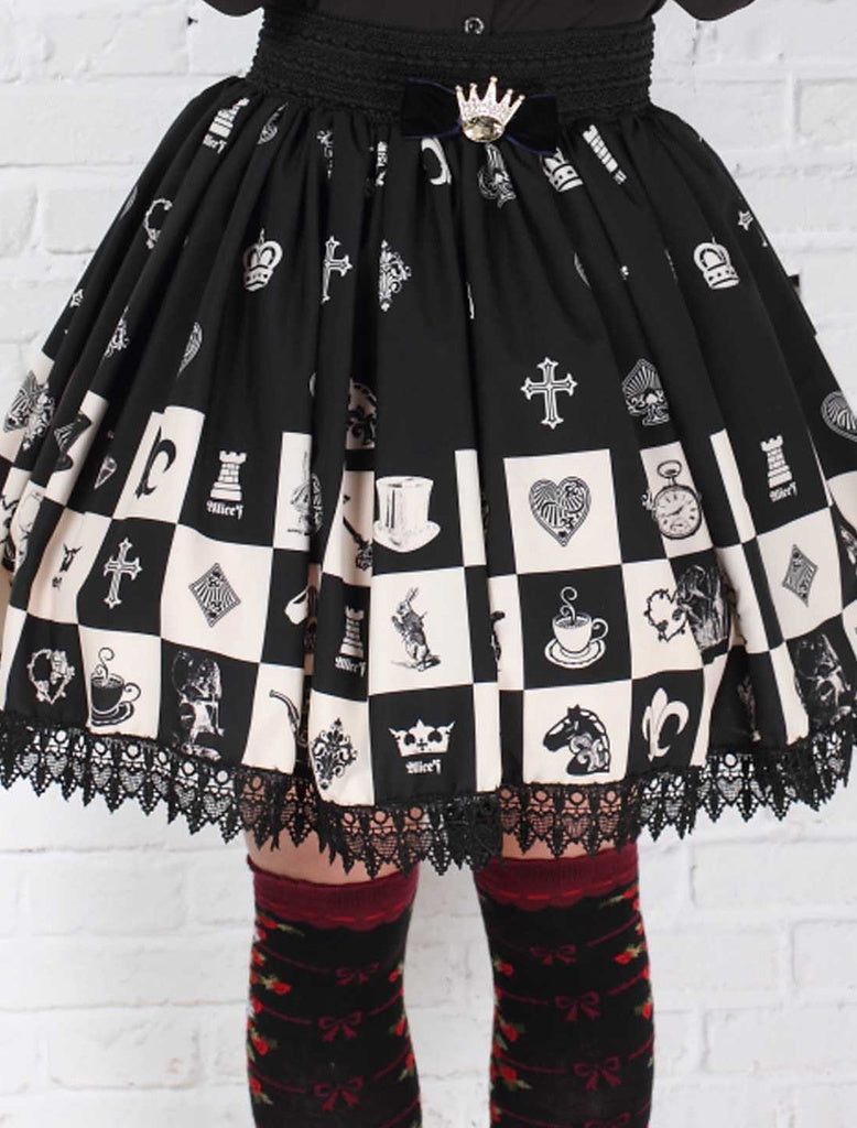 checkerboard chess board lolita skirt petticoat gothic fashion harajuku japan by kawaii babe