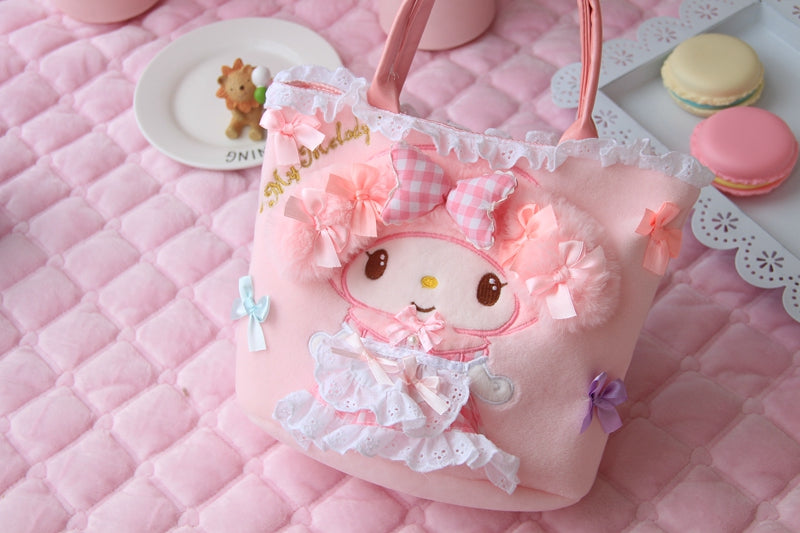 Sanrio My Melody Pink Plush Purse Handbag Bag Kawaii Pink Fairy Kei Aesthetic Japan Fashion Harajuku Style