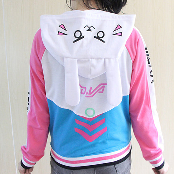 Overwatch D.VA DVA Cosplay Hoodie Jacket Sweater With Bunny Ears Anime Rabbit Gamer Girl Fandom Costume