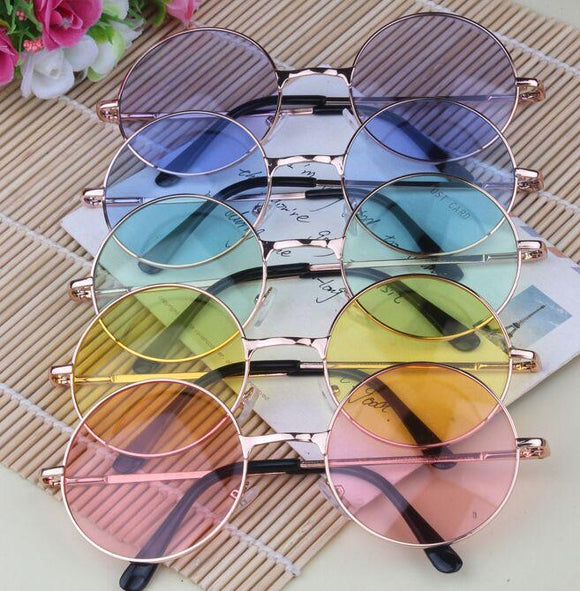 john lennon circle sunglasses glasses shades uv protection candy colored pastel fashion trendy aesthetic hipster hippie