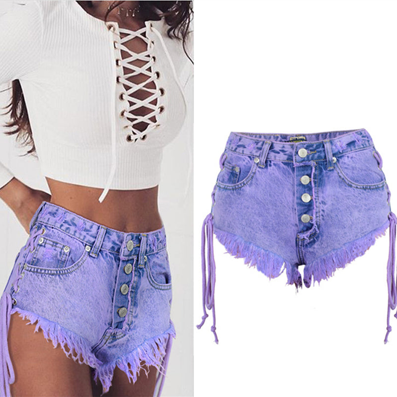 purple stone wash high waisted purple short shorts denim jean button up laces frayed distressed kawaii babe
