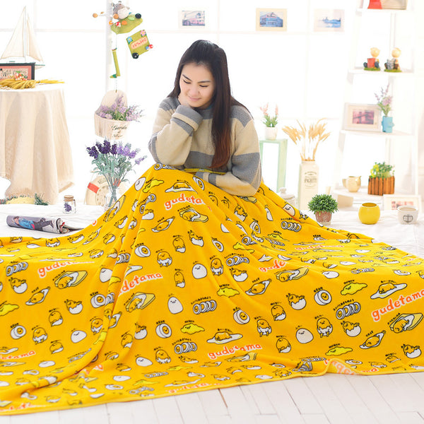 lazy gudetama egg blanket plush soft bedspread happy yellow egg yolk pillow case kawaii harajuku japan home decor by kawaii babe