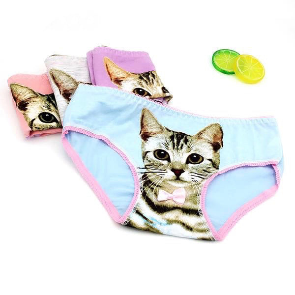 pastel kitten cat face life life realistic full brief underwear lingerie intimates fairy kei candy colored bow collar by kawaii babe