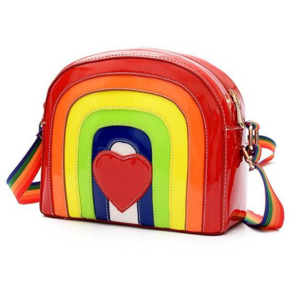 3d rainbow purse handbag shoulder cross body bag shiny vegan leather gay pride lgbt community red heart love rainbowcore by kawaii babe