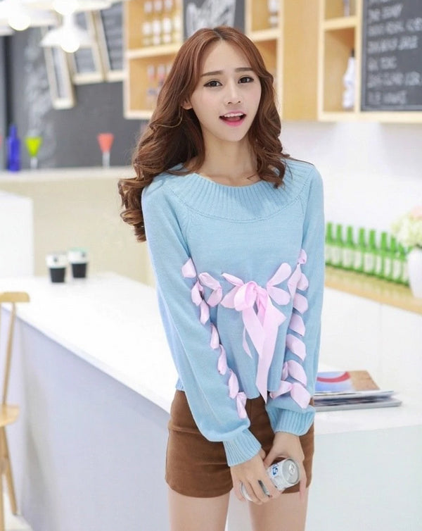 Kawaii Pastel Blue Lace Up Silk Ribbon Knit Sweater Corset Sweatshirt Long Sleeve Winter Cute