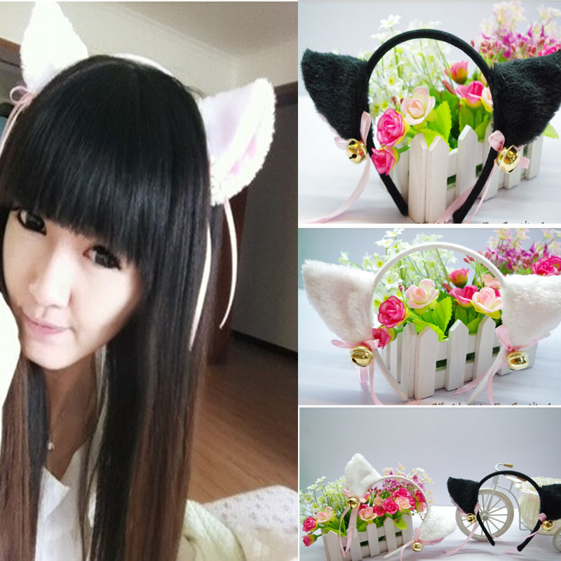 Kawaii Neko Fuzzy Furry Cat Ears Headband With Bows and Bells Hair Accessory Josie And The Pussycats Kinky Furry Kawaii Babe