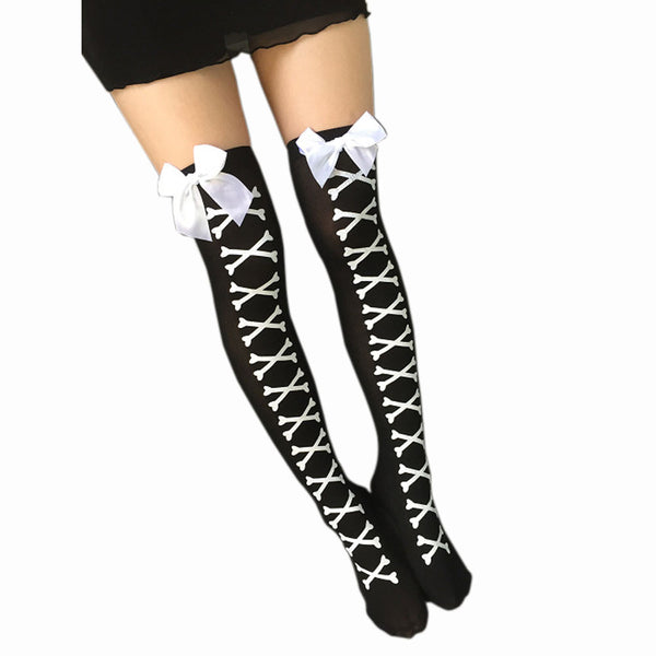 Corset Skull Stockings Thigh High Socks Black White Socks Lolita Cosplay Gothic Goth Kawaii Babe