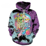 Magical Tie Dye Pastel Goth Creepy Cute Unisex Hoodie Sweater Coat Aliens Rainbow Unicorns Gothic