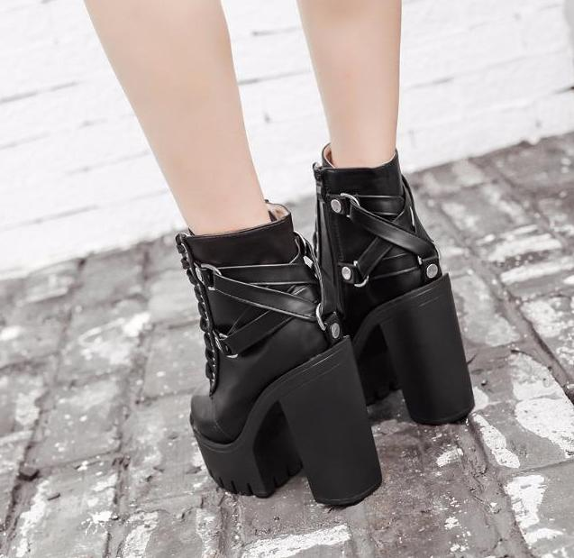chunky sexy gothic motorcycle boots combat ankle booties black goth fashion cute kawaii harajuku japan fashion by kawaii babe