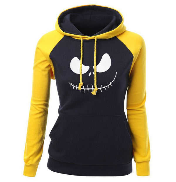 Yellow Jack Skellington Skull Hoodie Pullover Sweatshirt Nightmare Before Christmas Halloween