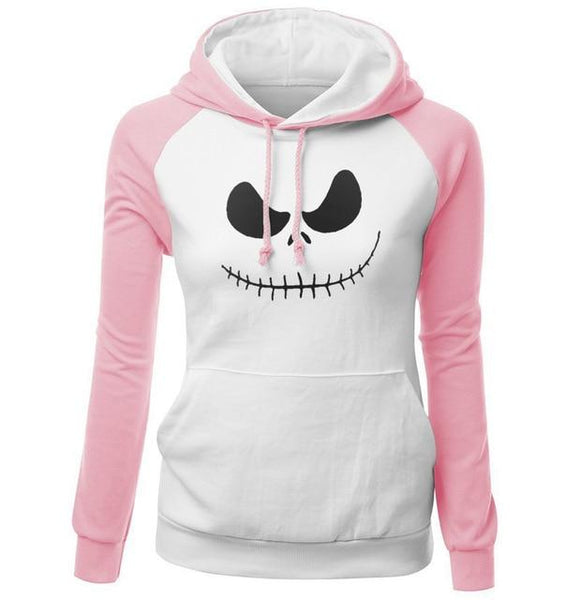 Pink Jack Skellington Skull Hoodie Pullover Sweatshirt Nightmare Before Christmas Halloween
