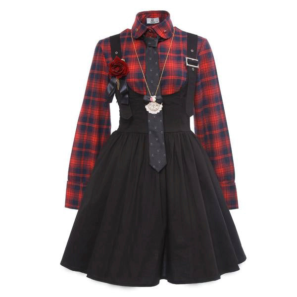 tartan plaid suspender dress complete outfit tie collared button up long sleeve shirt romper overalls edgy punk rock goth fashion by kawaii babe