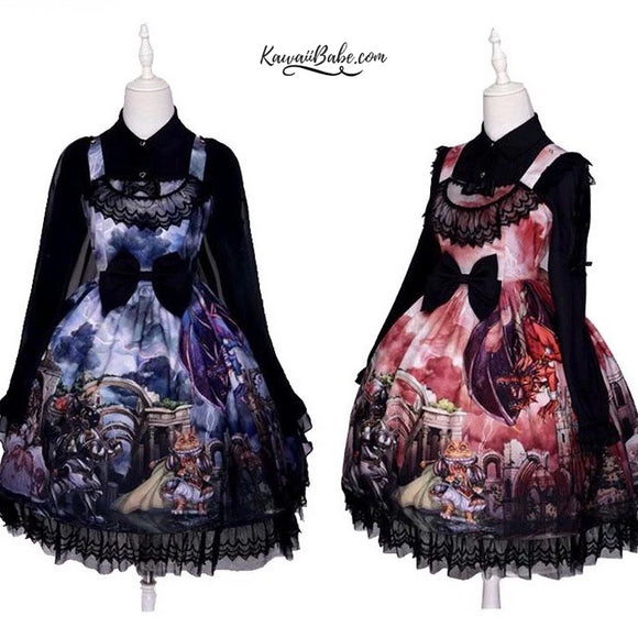 Gothic Lolita Medieval Print Dress Knights Dragons Classic