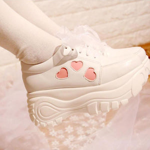 Fairy Kei Lolita Creepers Shoes Harajuku Kawaii Fashion White With Pink Hearts by Kawaii Babe