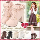 Chunky Lace Frill Ankle Booties Frill Boots Lolita Mori Girl Style by Kawaii Babe