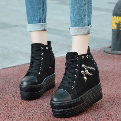 2199a4e5362b ... punk rock skull zipper shoes platform sneakers lace up athletic goth  edgy fashion by kawaii babe ...