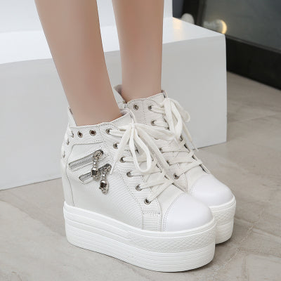 dca73996affb ... white punk rock skull zipper shoes platform sneakers lace up athletic  goth edgy fashion by kawaii ...