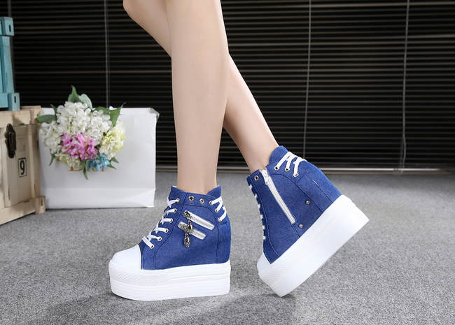 43b0c06d6af7 ... denim jean punk rock skull zipper shoes platform sneakers lace up  athletic goth edgy fashion by ...