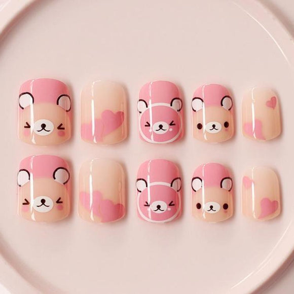 Pink Bear False Nails