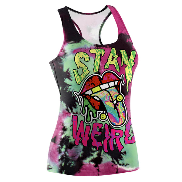 stay weird punk rock goth wife beater tank top tee sleeveless creepy horror pierced kiss tongue street fashion by kawaii babe