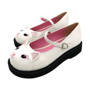 White Flat Kitten Cat Lolita Shoes Creepers Kitty Ears Buckles Kawaii Footwear