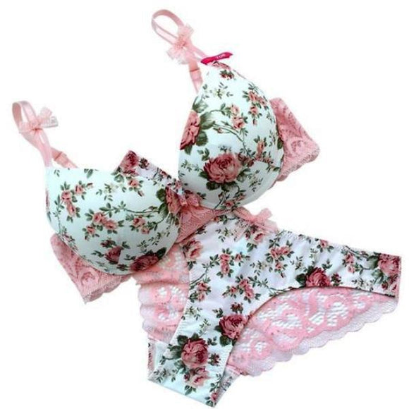 Flower Lace Lingerie Set Push Up Bra And Panties Undies