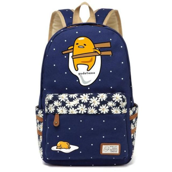 lazy gudetama egg chopsticks backpack daisy flower navy blue school supplies accessories rucksack knapsack japan kawaii character fashion by kawaii babe