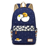 lazy gudetama egg hatching backpack daisy flower navy blue school supplies accessories rucksack knapsack japan kawaii character fashion by kawaii babe