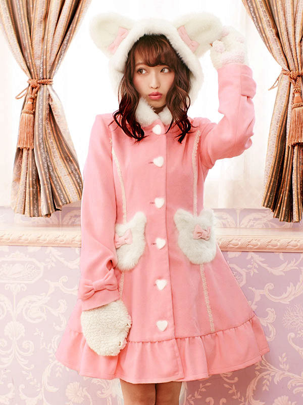 Kawaii Neko Cat Hooded Winter Warm Coat Jacket Dress harajuku Japan Fashion My Melody Cat Ears Kawaii babe