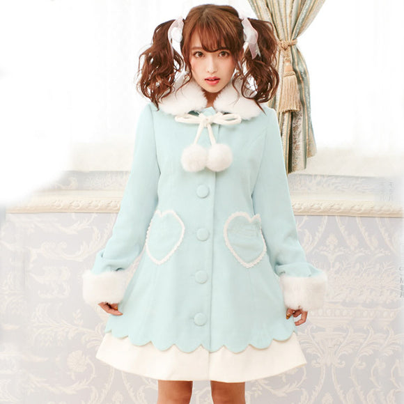 Long Woolen Winter Princess Coat