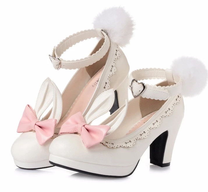 bunny ear lolita heels kawaii fashion shoes removable pom pom bunny rabbit tail clip on ears ankle strap sweet princess harajuku japan fashion by kawaii babe