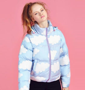 Sky Blue Winter Bomber Jacket Coat Puffy White Clouds Kawaii Fashion