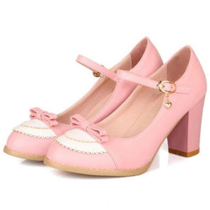Elegant Traditional Lolita Pumps High Heels Buckle Closure Sweet Pink Princess Shoes EGL Community by Kawaii Babe