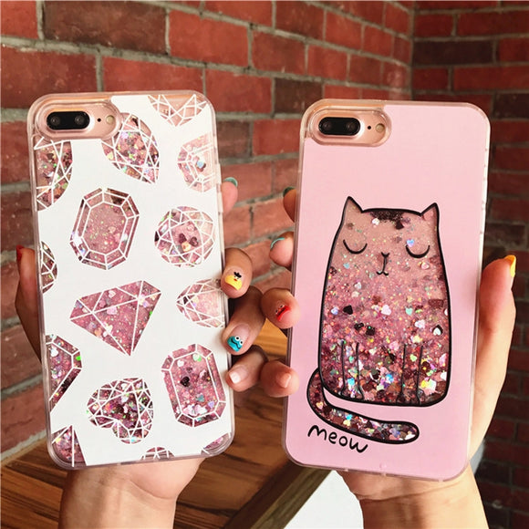 liquid glitter diamond phone case iphone 3d pink jewel crystals princess by kawaii babe