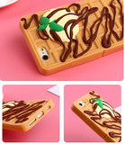 waffle crepe breakfast food iPhone case 3D soft rubber shock proof phone cases yummy chocolate syrup strawberry crepe by kawaii babe